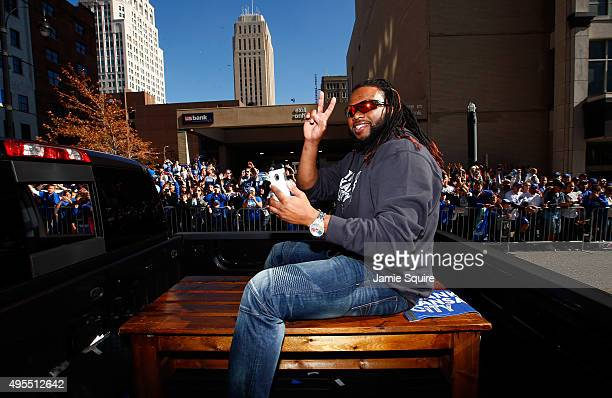 Johnny Cueto of the Kansas City Royals waves to the crowd during a parade and celebration in honor of the Royals' World Series win on November 3 2015...