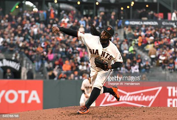 Johnny Cueto of the San Francisco Giants pitches against the Colorado Rockies in the top of the third inning at ATT Park on July 6 2016 in San...