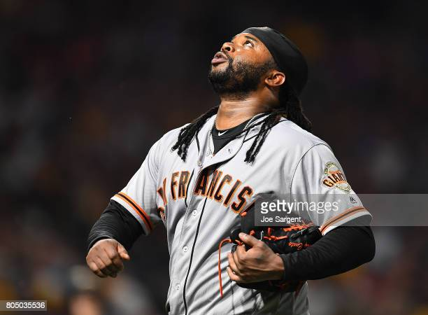 Johnny Cueto of the San Francisco Giants reacts after the final out of the fifth inning against the Pittsburgh Pirates at PNC Park on June 30 2017 in...