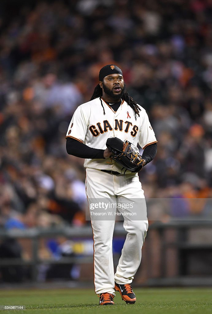 <a gi-track='captionPersonalityLinkClicked' href=/galleries/search?phrase=Johnny+Cueto&family=editorial&specificpeople=4921735 ng-click='$event.stopPropagation()'>Johnny Cueto</a> #47 of the San Francisco Giants walks back to the dugout after getting the third out of the top of the seventh inning against the San Diego Padres at AT&T Park on May 23, 2016 in San Francisco, California.