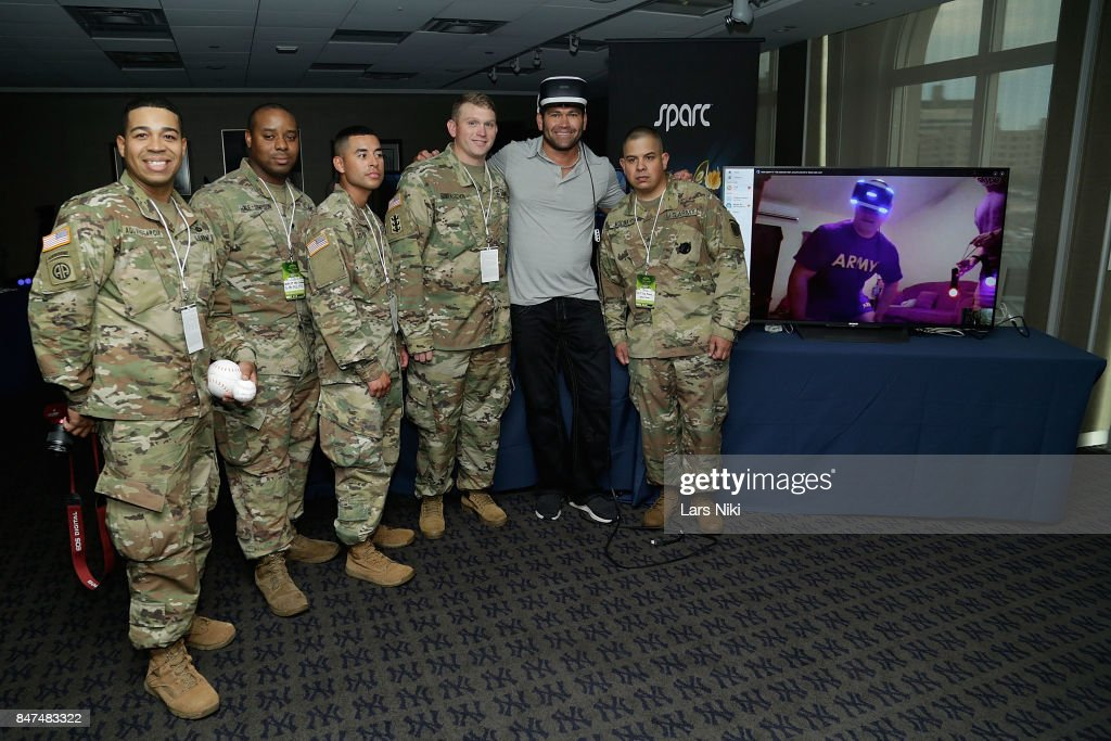 Johnny Damon and guests Compete Against American Troops in Saudi Arabia with Groundbreaking Virtual Reality Sport - CCP Games' Sparc at Yankee Stadium on September 15, 2017 in New York City.
