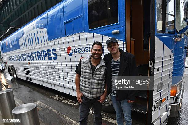 Johnny Damon and Pete Davidson join Pepsi to celebrate Yankees opening day helping fans earn their pinstripes on April 4 2016 in New York City