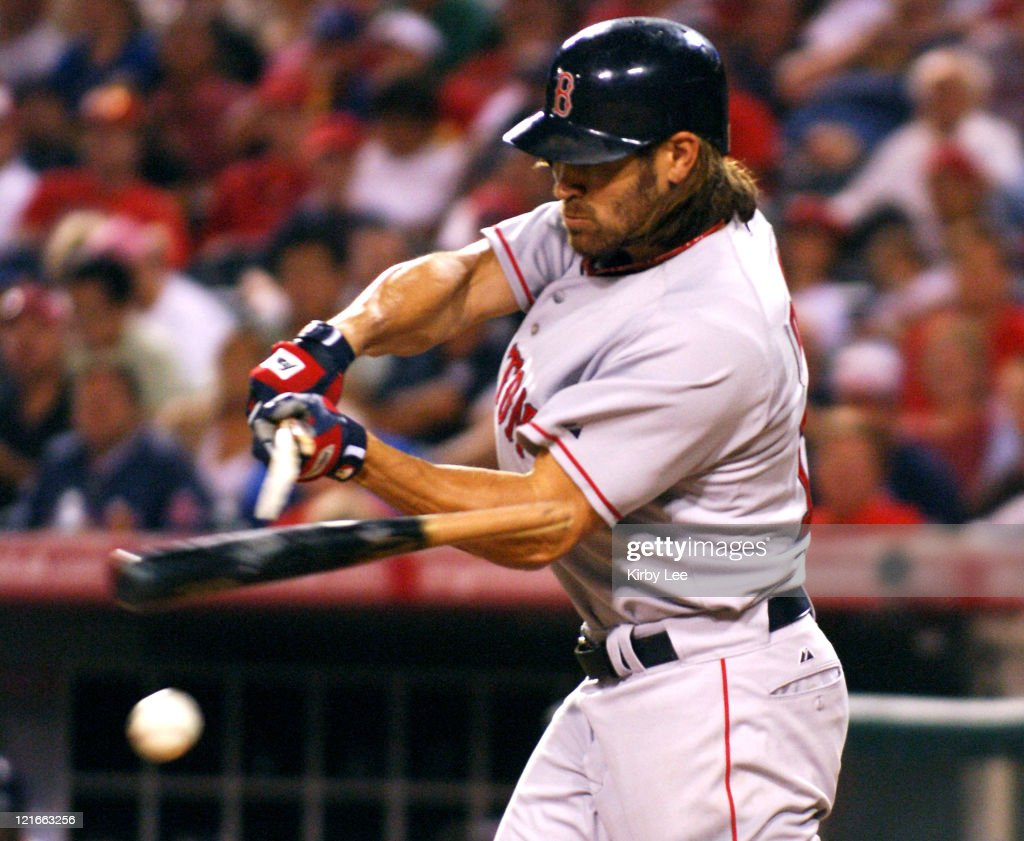Johnny Damon of the Boston Red Sox shatters bats during 4-3 victory in 10 innings over the Los Angeles Angels of Anaheim at Angel Stadium in Anaheim, Calif. on Friday, August 19, 2005.