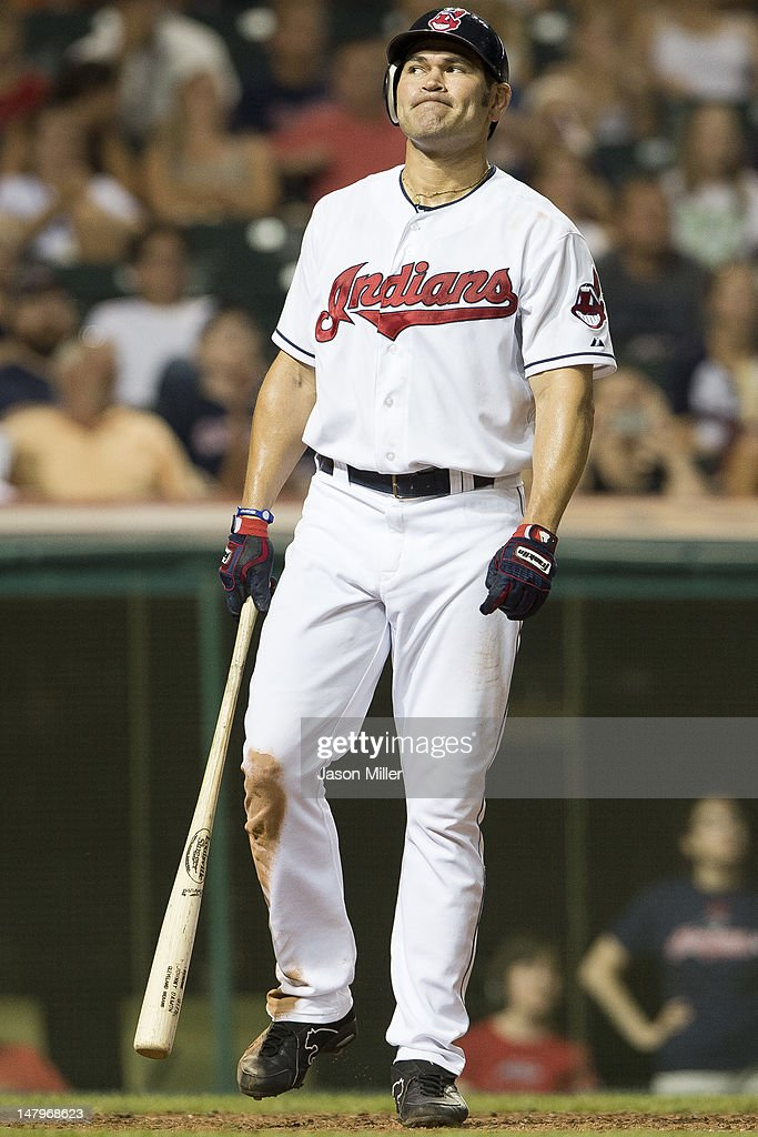 <a gi-track='captionPersonalityLinkClicked' href=/galleries/search?phrase=Johnny+Damon&family=editorial&specificpeople=167164 ng-click='$event.stopPropagation()'>Johnny Damon</a> #33 of the Cleveland Indians reacts to hitting a foul ball during the ninth inning against the Tampa Bay Rays at Progressive Field on July 6, 2012 in Cleveland, Ohio. The Rays defeated the Indians 10-3.