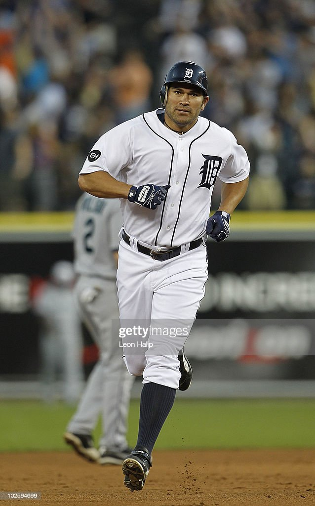 Johnny Damon #18 of the Detroit Tigers hits a seventh inning two run home run during the game against the Seattle Mariners on July 2, 2010 at Comerica Park in Detroit, Michigan.