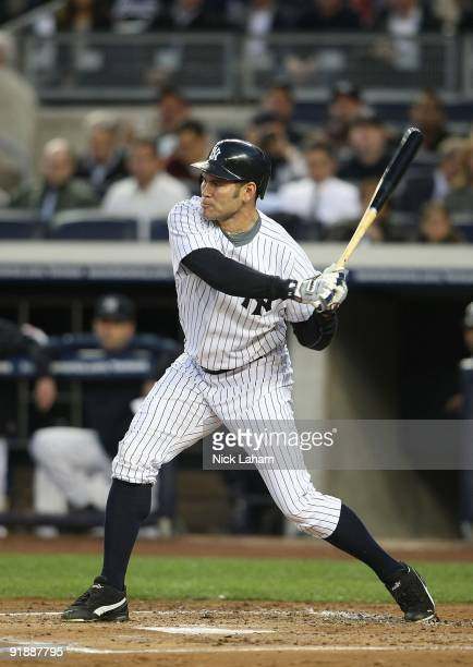 Johnny Damon of the New York Yankees at bat against the Minnesota Twins in Game One of the ALDS during the 2009 MLB Playoffs at Yankee Stadium on...