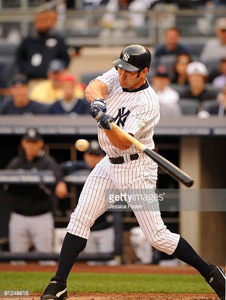 Johnny Damon of the New York Yankees bats during game agains the Boston Red Sox at Yankee Stadium in the Bronx New York on Saturday September 26 2009...
