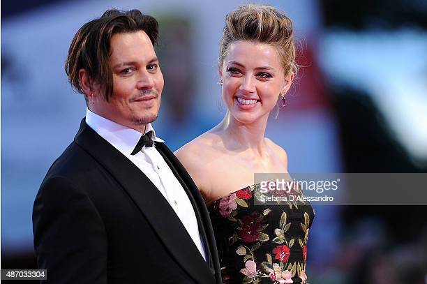 Johnny Depp and Amber Heard attend a premiere for 'A Danish Girl' during the 72nd Venice Film Festival at on September 5 2015 in Venice Italy