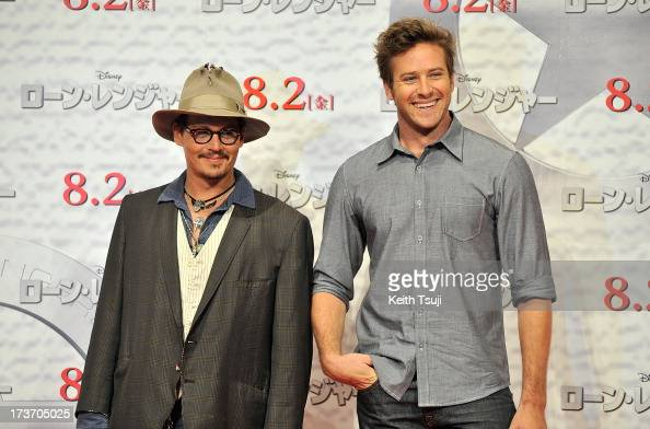 Johnny Depp and Armie Hammer attend the 'Lone Ranger' photo call at Park Hyatt Tokyo on July 17 2013 in Tokyo Japan The film will open on August 2 in...