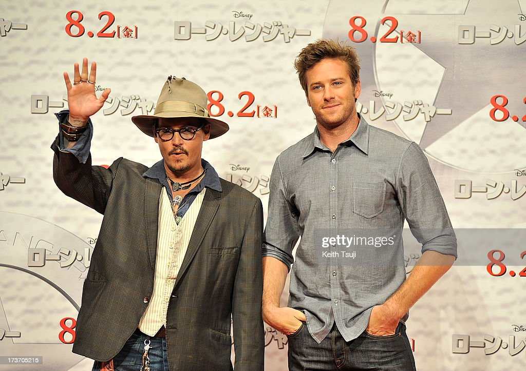 Johnny Depp and Armie Hammer attend the 'Lone Ranger' photo call at Park Hyatt Tokyo on July 17, 2013 in Tokyo, Japan. The film will open on August 2 in Japan.