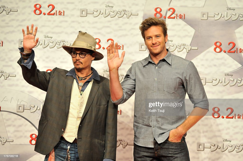 <a gi-track='captionPersonalityLinkClicked' href=/galleries/search?phrase=Johnny+Depp&family=editorial&specificpeople=202150 ng-click='$event.stopPropagation()'>Johnny Depp</a> and <a gi-track='captionPersonalityLinkClicked' href=/galleries/search?phrase=Armie+Hammer&family=editorial&specificpeople=5313113 ng-click='$event.stopPropagation()'>Armie Hammer</a> attend the 'Lone Ranger' photo call at Park Hyatt Tokyo on July 17, 2013 in Tokyo, Japan. The film will open on August 2 in Japan.