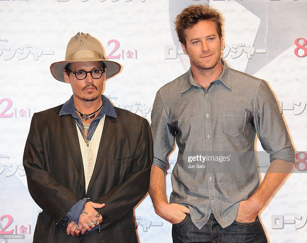 <a gi-track='captionPersonalityLinkClicked' href=/galleries/search?phrase=Johnny+Depp&family=editorial&specificpeople=202150 ng-click='$event.stopPropagation()'>Johnny Depp</a> and <a gi-track='captionPersonalityLinkClicked' href=/galleries/search?phrase=Armie+Hammer&family=editorial&specificpeople=5313113 ng-click='$event.stopPropagation()'>Armie Hammer</a> attend 'The Lone Ranger' photo call at the Park Hyatt Hotel on July 17, 2013 in Tokyo, Japan.