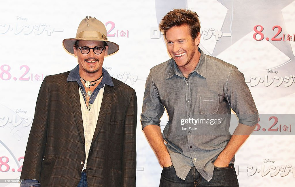 Johnny Depp and Armie Hammer attend 'The Lone Ranger' photo call at the Park Hyatt Hotel on July 17 2013 in Tokyo Japan