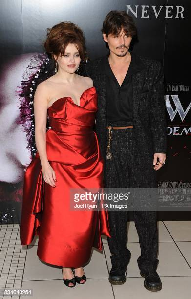 Johnny Depp and Helena Bonham Carter arrive for the premiere of Sweeney Todd The Demon Barber of Fleet Street at the Odeon West End Cinema Leicester...