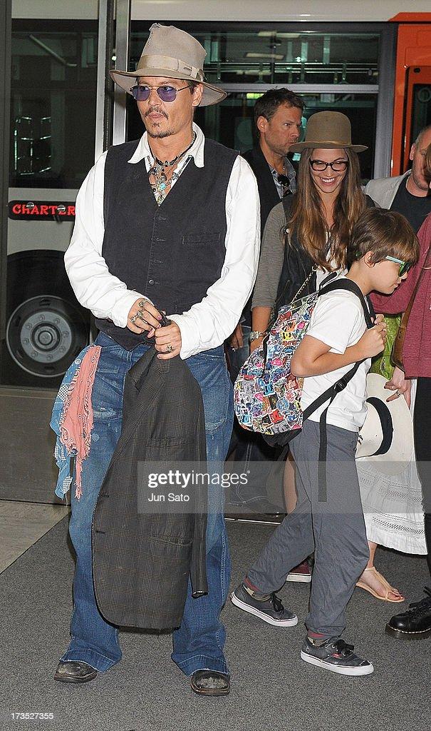 Johnny Depp and Jack Depp arrive at Narita International Airport on July 16, 2013 in Narita, Japan.
