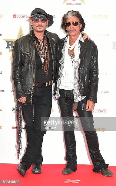 Johnny Depp and Joe Perry attend red carpet for the Classic Rock Awards at Ryogoku Kokugikan on November 11 2016 in Tokyo Japan