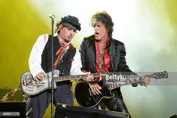 Johnny Depp and Joe Perry during Rock in Rio on September 24 2015 in Rio de Janeiro Brazil