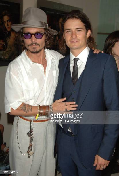 Johnny Depp and Orlando Bloom arrive for the European Premiere of Pirates of the Caribbean Dead Mans Chest at the Odeon Cinema in Leicester Square...