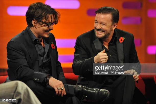 Johnny Depp and Ricky Gervais during the filming of the Graham Norton Show at The London Studios south London to be aired on BBC One on Friday evening