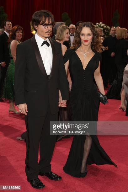 Johnny Depp and Vanessa Paradis arrives for the 80th Academy Awards at the Kodak Theatre Los Angeles