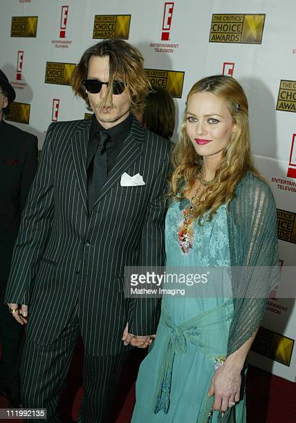 Johnny Depp and Vanessa Paradis during The 9th Annual Critics' Choice Awards Red Carpet at The Beverly Hills Hotel in Beverly Hills California United...