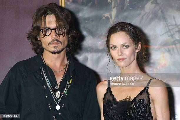 Johnny Depp and Vanessa Paradis in Paris France on July 06 2006