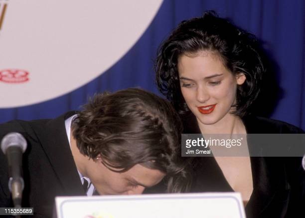 Johnny Depp and Winona Ryder during 1990 ShoWest Awards at Bally's Las Vegas Hotel and Casino in Las Vegas California United States