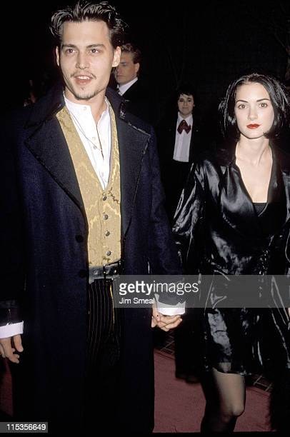 Johnny Depp and Winona Ryder during 'Edward Scissorhands' Premiere in Los Angeles California United States