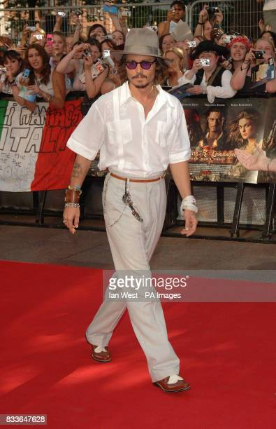 Johnny Depp arrives for the European Premiere of Pirates of the Caribbean Dead Man's Chest at the Odeon Cinema in Leicester Square central London