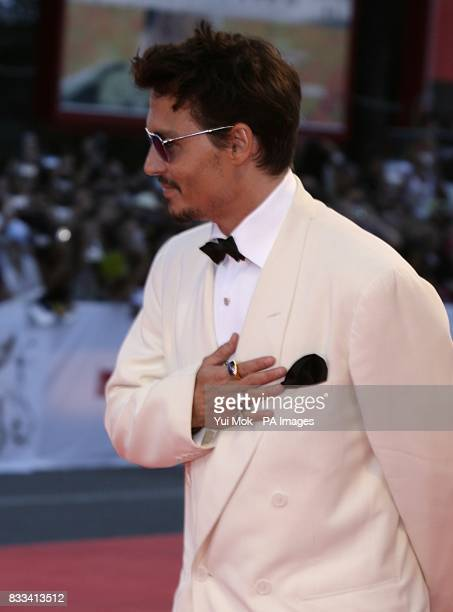 Johnny Depp arrives for the premiere of 'The Nightmare Before Christmas 3D' at the Venice Film Festival in Venice Italy