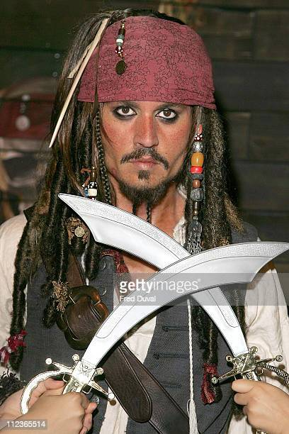 Johnny Depp as Captain Jack Sparrow during 'Pirates of the Caribbean' Character Waxworks Unveiled at Madame Tussauds in London July 5 2006 at Madame...