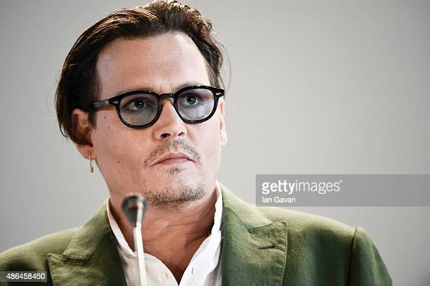 Johnny Depp attends a press conference for 'Black Mass' during the 72nd Venice Film Festival at Palazzo del Casino on September 4 2015 in Venice Italy