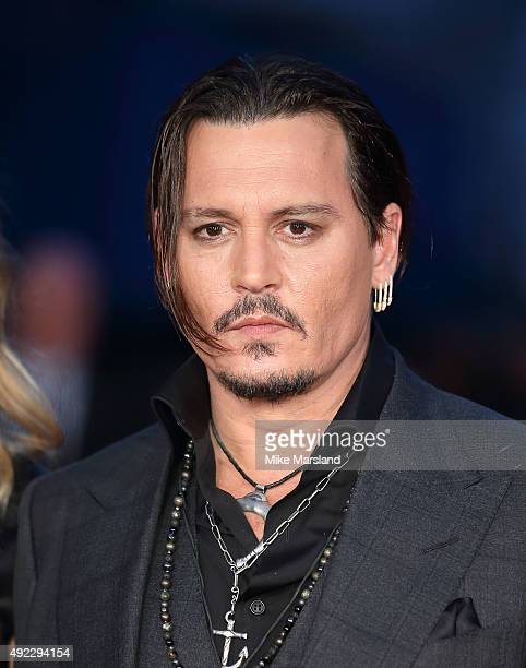 Johnny Depp attends a screening of 'Black Mass' during the BFI London Film Festival at Odeon Leicester Square on October 11 2015 in London England