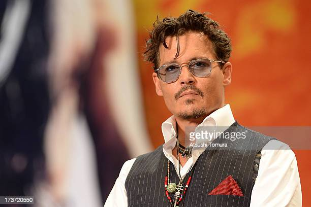 Johnny Depp attends the 'Lone Ranger' Japan Premiere at Roppongi Hills on July 17 2013 in Tokyo JapanThe film will open on August 2 in Japan