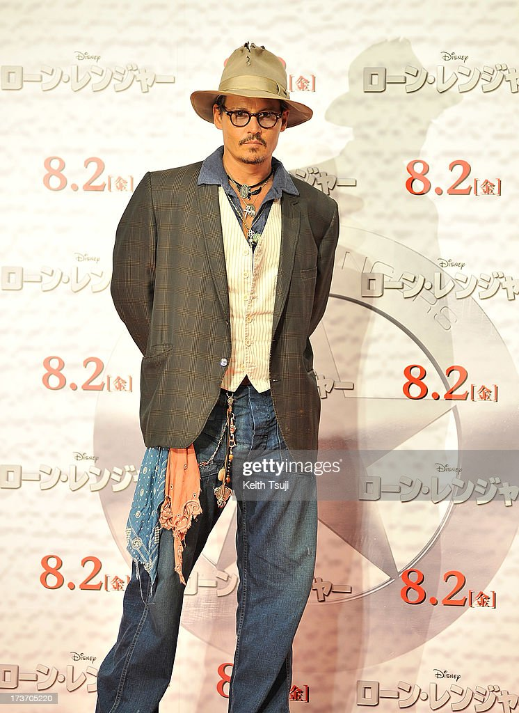 Johnny Depp attends the 'Lone Ranger' photo call at Park Hyatt Tokyo on July 17, 2013 in Tokyo, Japan. The film will open on August 2 in Japan.