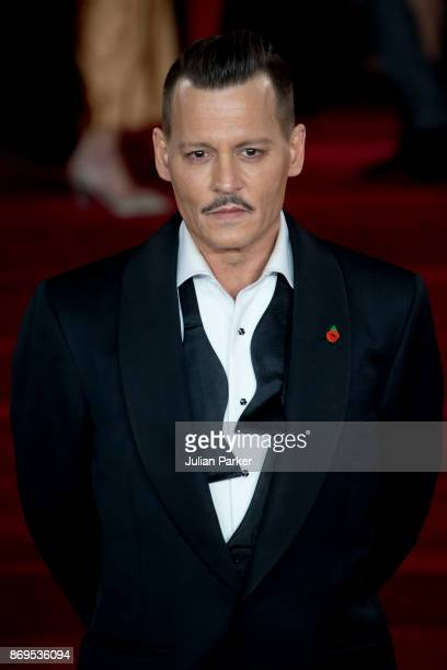 Johnny Depp attends the 'Murder On The Orient Express' World Premiere held at Royal Albert Hall on November 2 2017 in London England