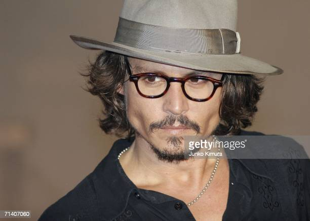Johnny Depp attends the Tokyo Premiere of 'Pirates of the Caribbean Dead Man's Chest' on July 10 2006 in Tokyo Japan The film will open on July 22 in...