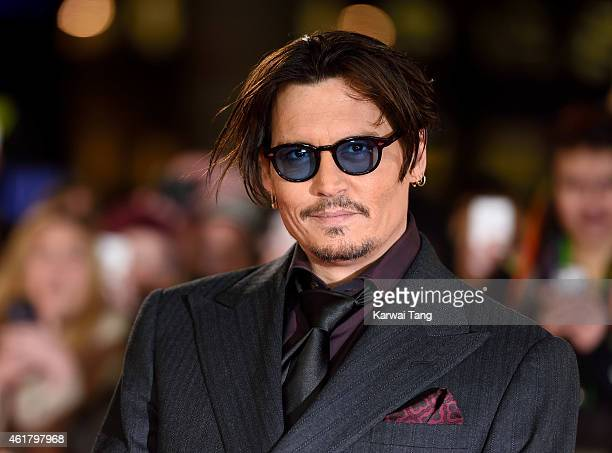 Johnny Depp attends the UK Premiere of 'Mortdecai' at Empire Leicester Square on January 19 2015 in London England