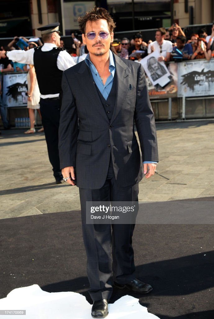 Johnny Depp attends the UK premiere of 'The Lone Ranger' at The Odeon Leicester Square on July 21, 2013 in London, England.