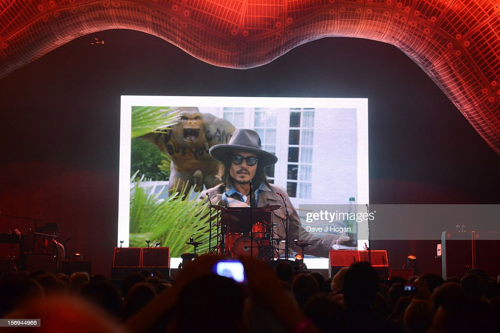 Johnny Depp congratulates The Rolling Stones on their 50th anniversary via video link at 02 Arena on November 25, 2012 in London, England.