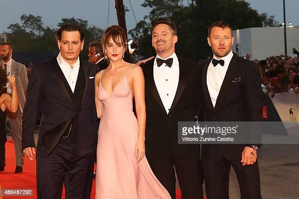 Johnny Depp Dakota Johnson director Scott Cooper and Joel Edgerton attend a premiere for 'Black Mass' during the 72nd Venice Film Festival at on...