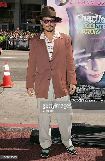 Johnny Depp during 'Charlie and the Chocolate Factory' Los Angeles Premiere Arrivals at Grauman's Chinese Theater in Hollywood California United...