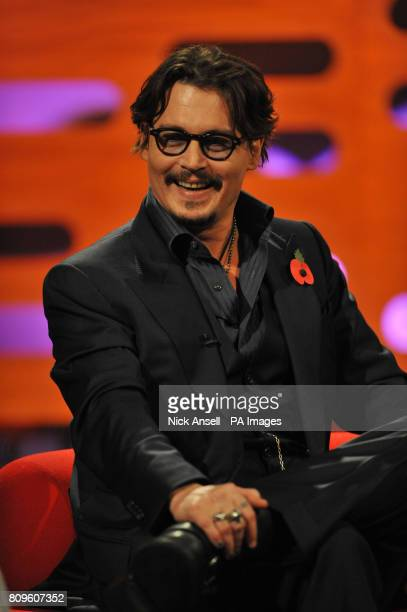 Johnny Depp during the filming of the Graham Norton Show at The London Studios south London to be aired on BBC One on Friday evening