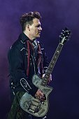 Johnny Depp guitarist of US band Hollywood Vampires performs at the Rock in Rio Lisboa music festival at Bela Vista Park in Lisbon on May 27 2016...