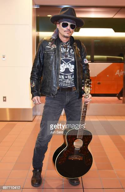Johnny Depp is seen upon arrival at Haneda Airport on June 19 2017 in Tokyo Japan