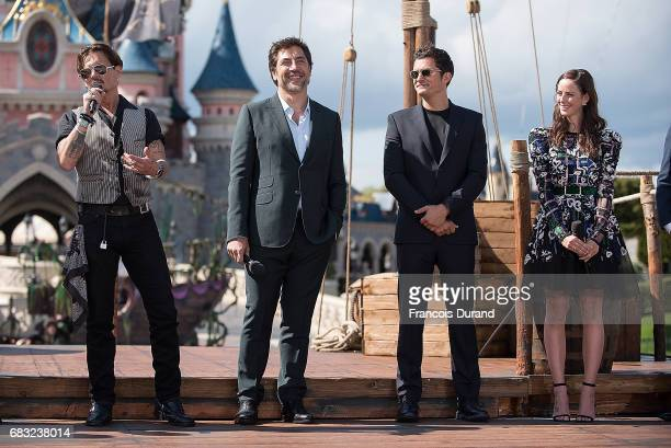 Johnny Depp Javier Bardem Orlando Bloom and Kaya Scodelario attend the European Premiere to celebrate the release of Disney's Pirates of the...