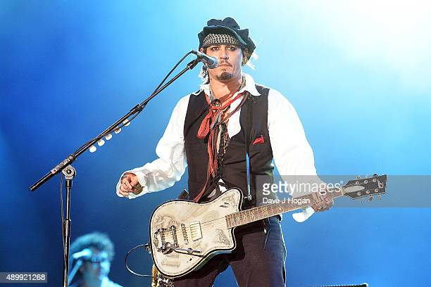 Johnny Depp performs with The Hollywood Vampires during Rock in Rio on September 24 2015 in Rio de Janeiro Brazil
