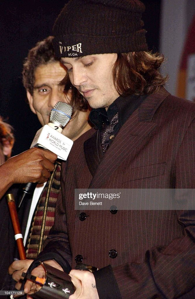 Johnny Depp Presented The Award For The Europe/middle East Category To Gypsy Band Taraf Dehaidouks, Bbc Radio 3 Awards For The World Music At 'Ocean' In Hackney, London, Bands From All Over The World Turned Up To Get Their Awards.