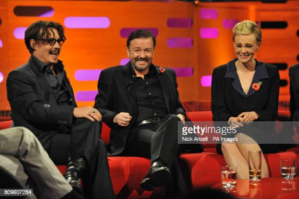 Johnny Depp Ricky Gervais and Carey Mulligan during the filming of the Graham Norton Show at The London Studios south London to be aired on BBC One...