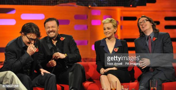 Johnny Depp Ricky Gervais Carey Mulligan and Ed Byrne during the filming of the Graham Norton Show at The London Studios south London to be aired on...